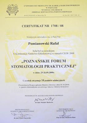 """Udział w Konferencji Naukowo-Szkoleniowej: """"Poznańskie Forum Stomatologii Praktycznej""""."""